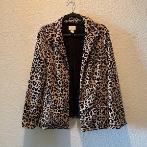 Chico's animal print open front blazer, size 3